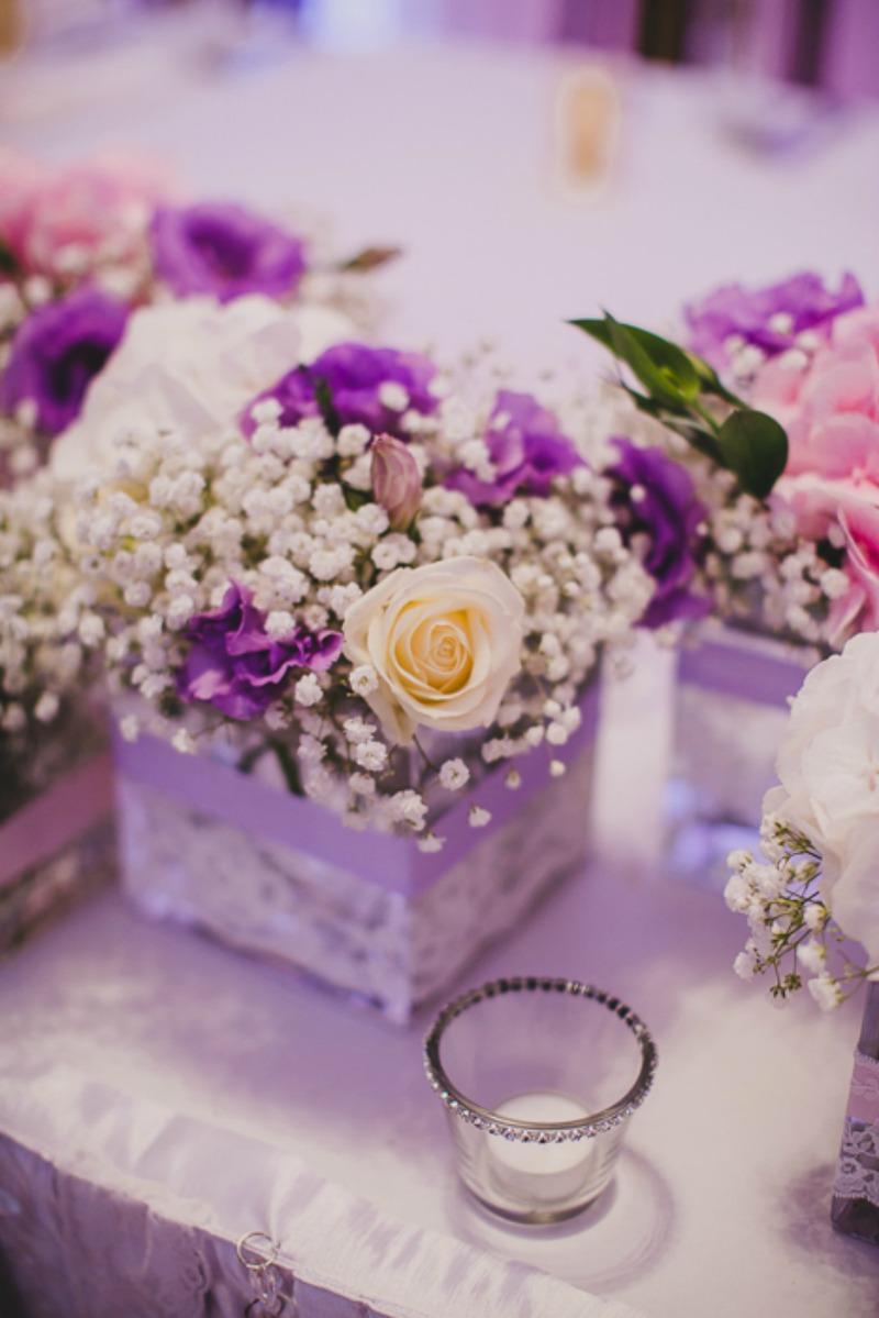kwiaty wesele fiolet