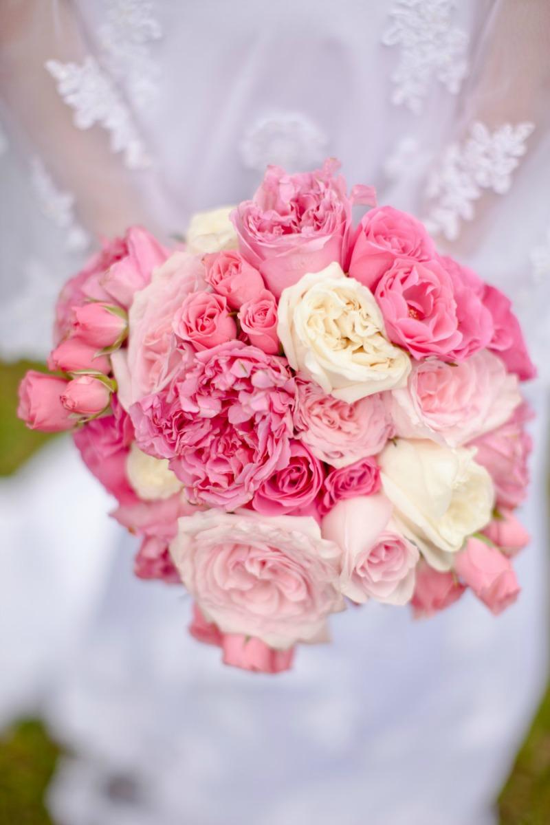 bukiet panny młodej różowy
