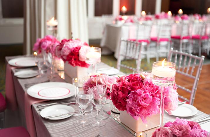 róż wystrój sali weselnej