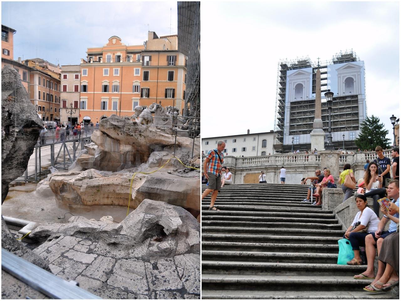 Fontanna, Hiszpanskie Schody i Koloseum są w remoncie. Wszędzie rusztowania. Smuteczek