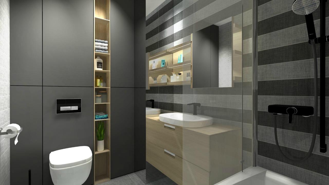 projekt łazienki szarość fashionelka