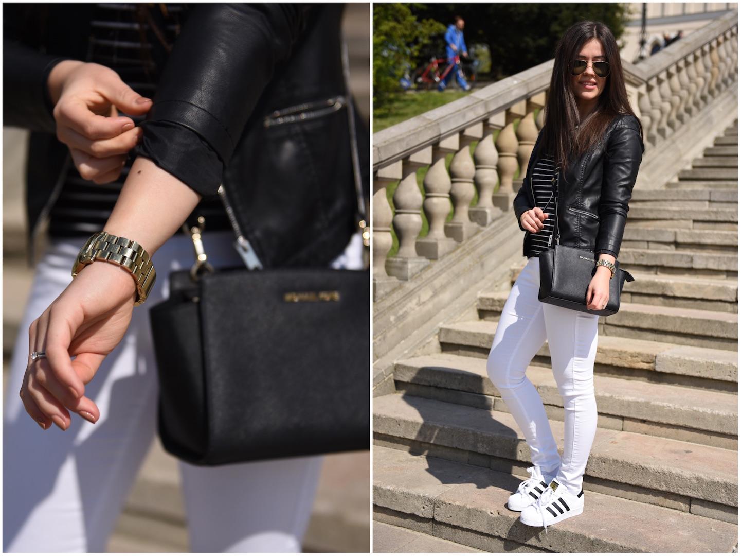 c2c645e10e830 ... torebka selma messenger · czarna ramoneska stylizacja · michael kors  selma Spodnie – Zara