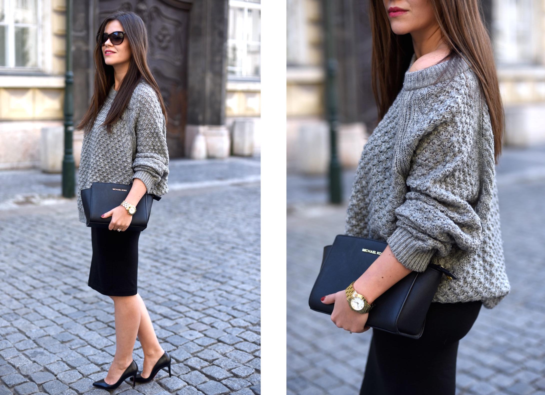 szary sweter stylizacja