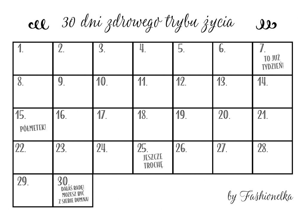 30 dni zdrowego trybu życia tabelka