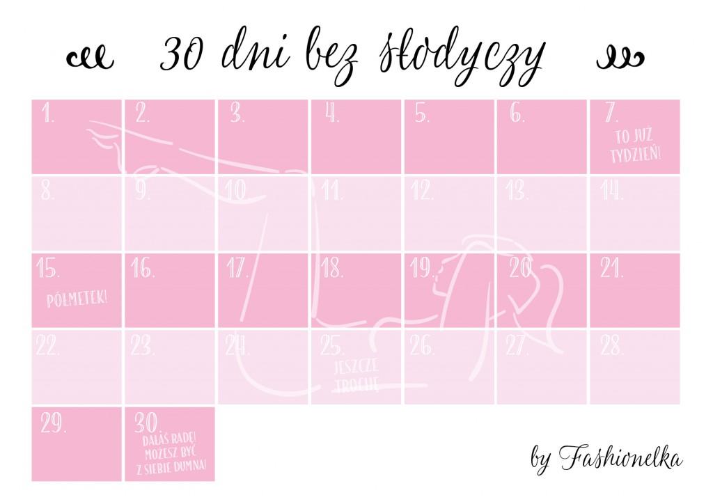 tabelka 30 dni bez słodyczy