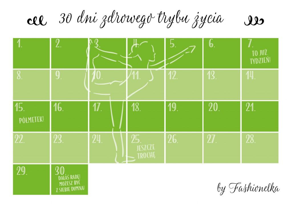 tabelka 30 dni zdrowego trybu zycia